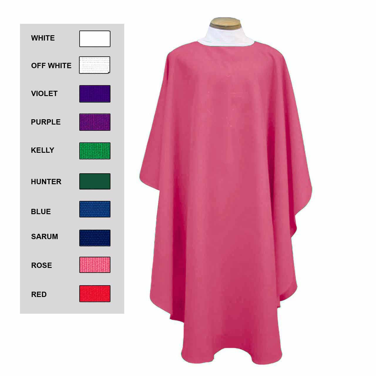 856 Plain Chasuble in Rose