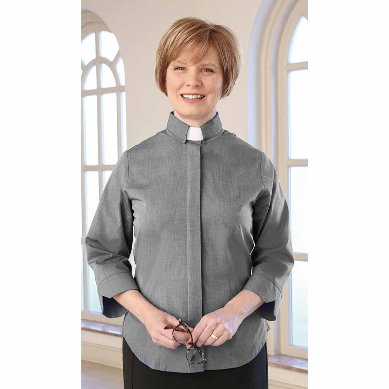 3306 3/4 Fitted Clergy Blouse Charcoal