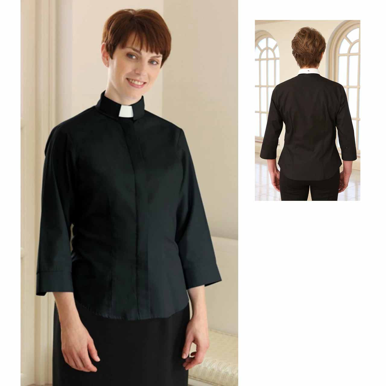 3306 3/4 Fitted Clergy Blouse Black