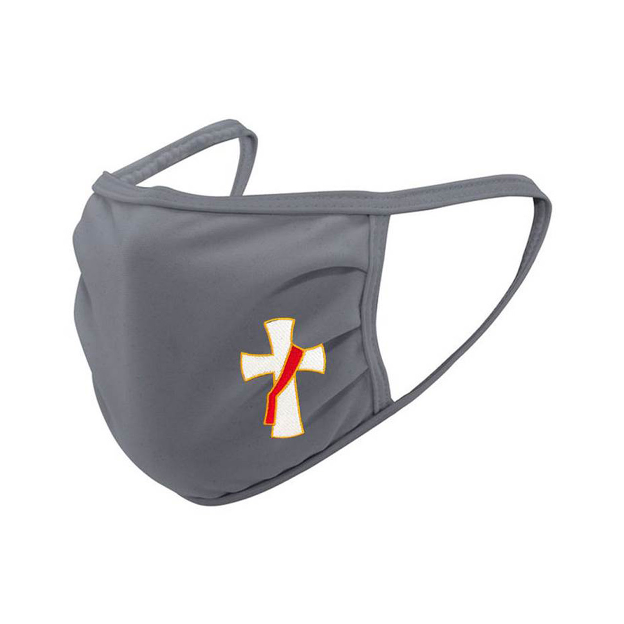 Gray Face Mask with Embroidered Deacon Emblem