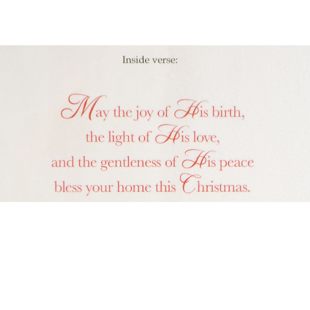 Sentiment inside Nativity Boxed Christmas Cards