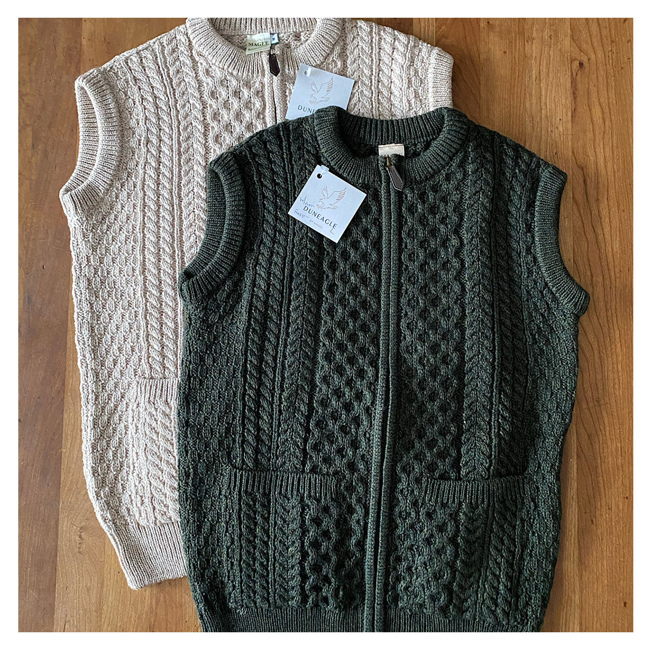 Natural and Forest Green Wool Irish Sweater Vest for Men or Women