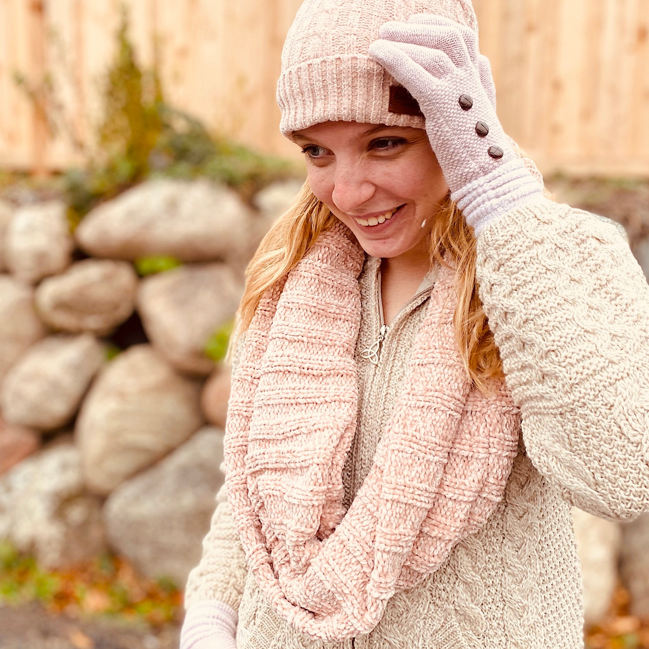 Image of Blush Pink Chenille Winter Hat for Women