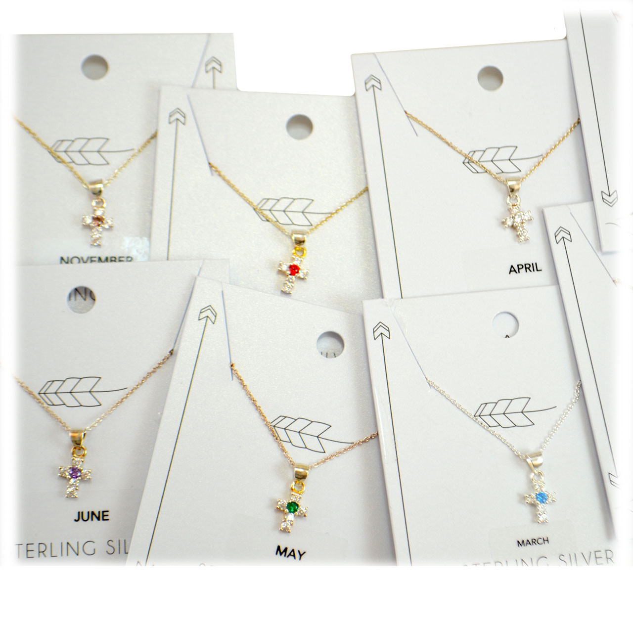 Sterling Birthstone Cross Necklaces - Sold Individually
