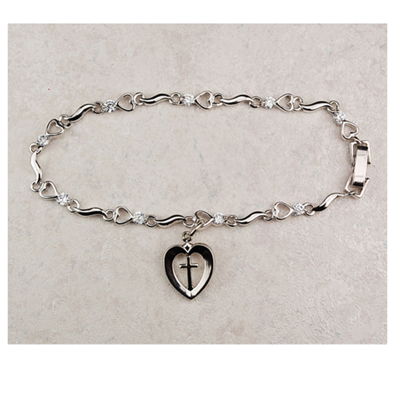 Heart with Cross Religious Bracelet