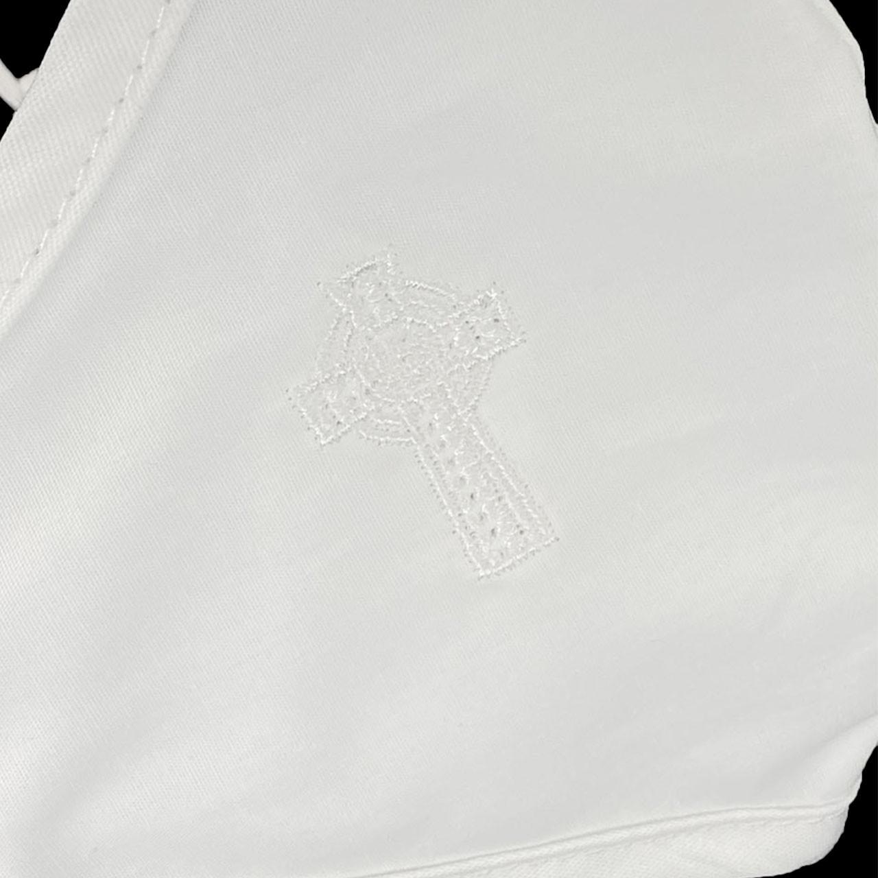 Celtic Cross Face Mask detail of embroidered Celtic Cross