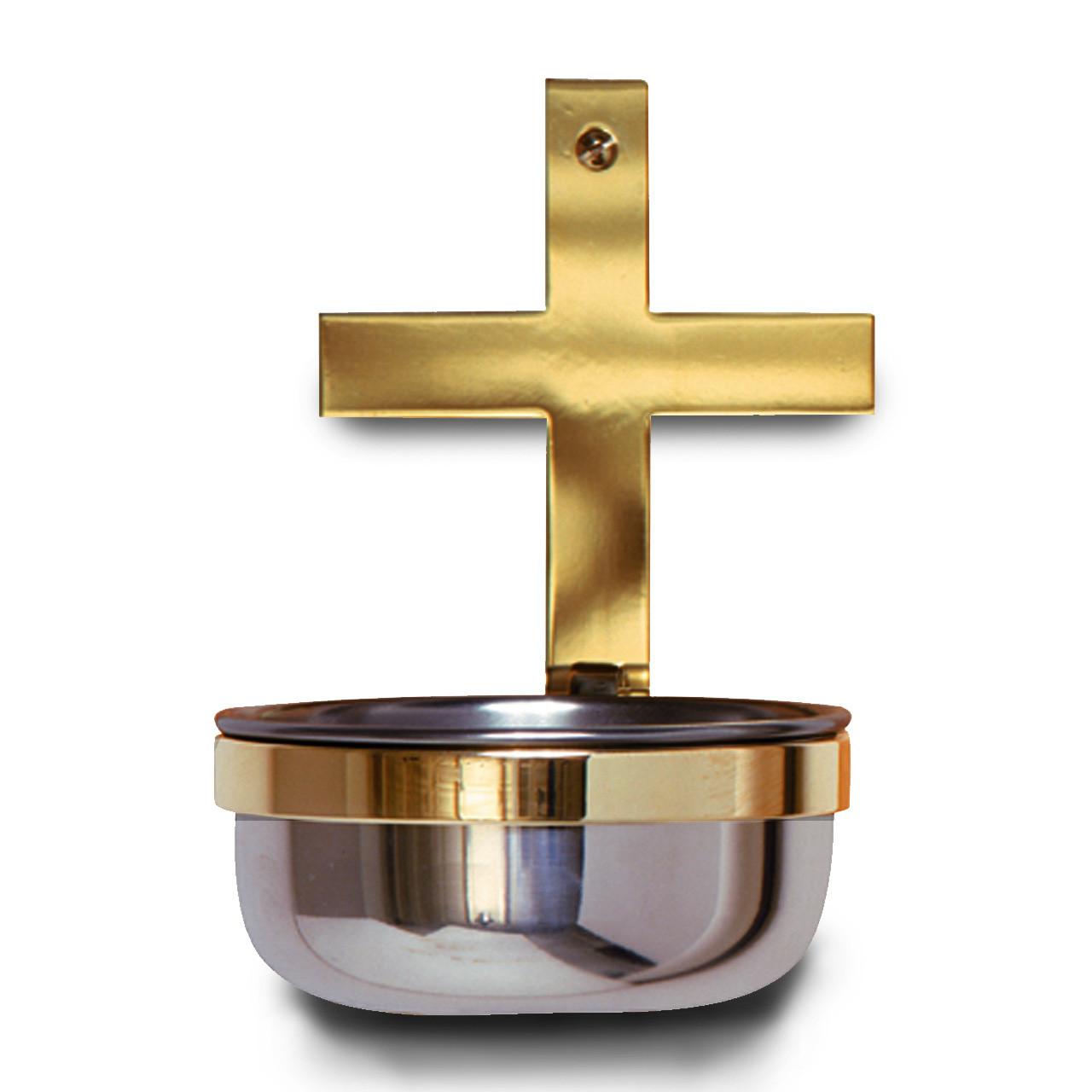 K249 Stainless Steel Holy Water Font w/Brass Cross