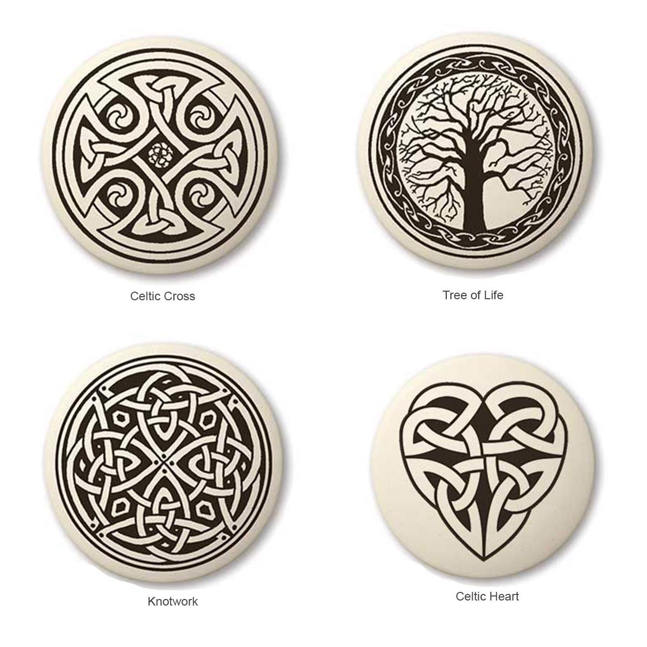 Round Celtic Pendants - 4 individual designs: Celtic cross, Tree of Life, Knotwork & Heart