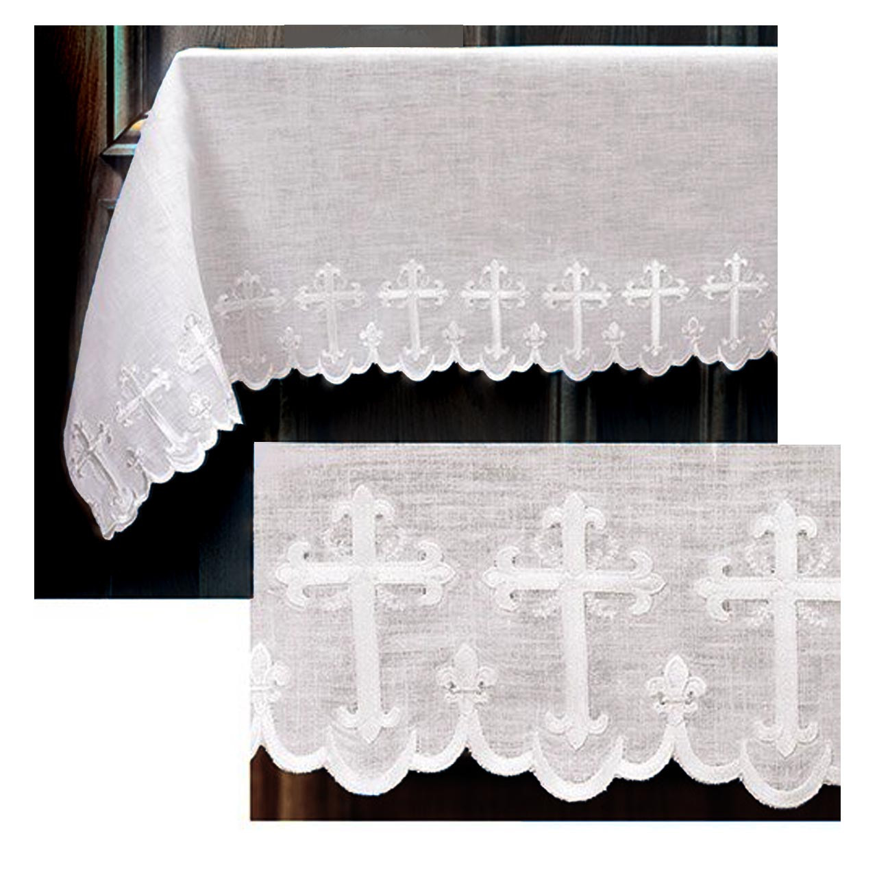 PS272 Scalloped Altar Frontal 100% Linen