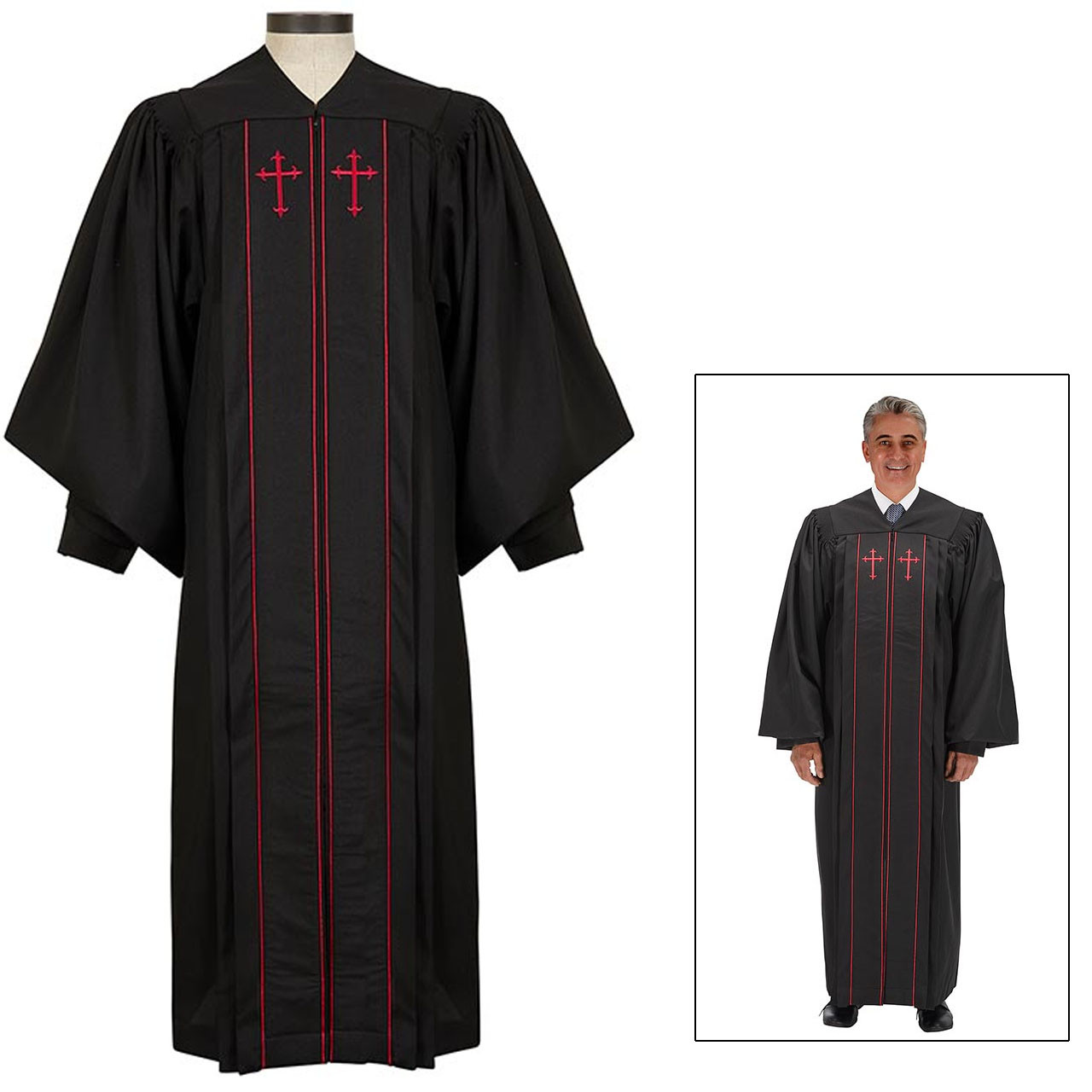 J7152 Cambridge Pulpit Robe w/Red Accents