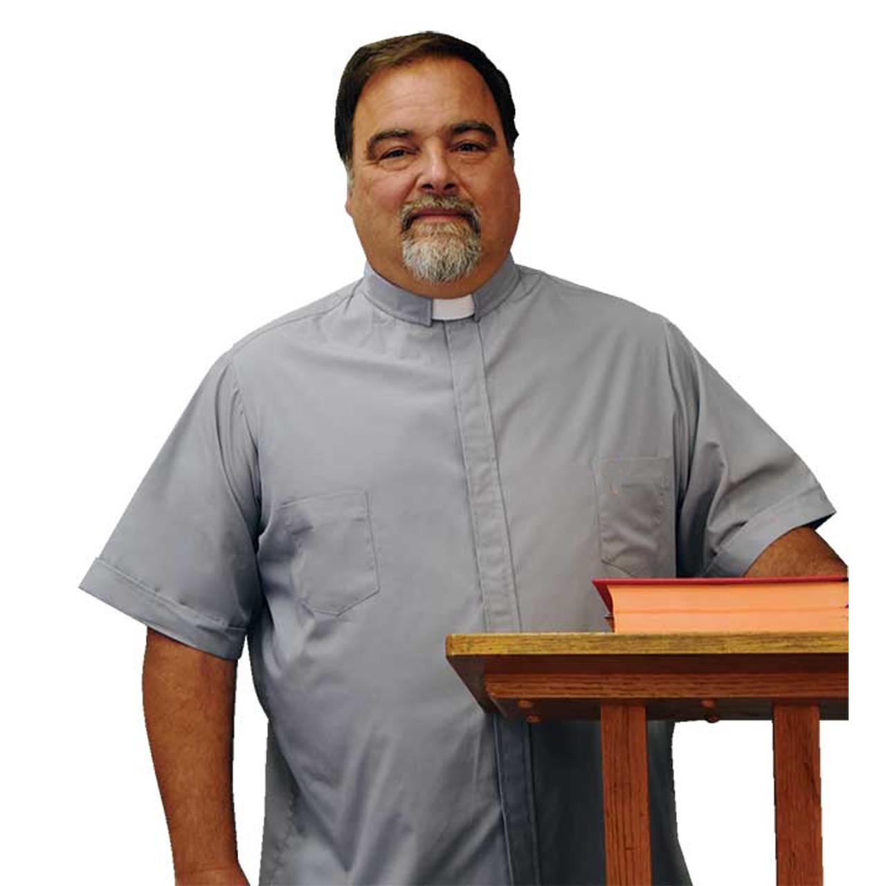 8933 BV SS Grey Clergy Tab Shirt