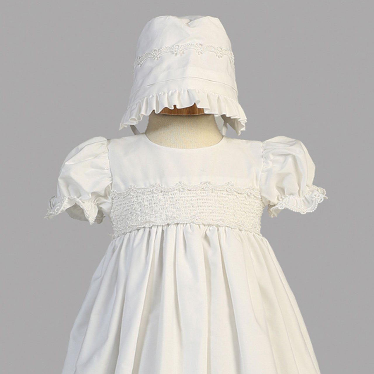 Detail of the Marie Cotton Christening Gown