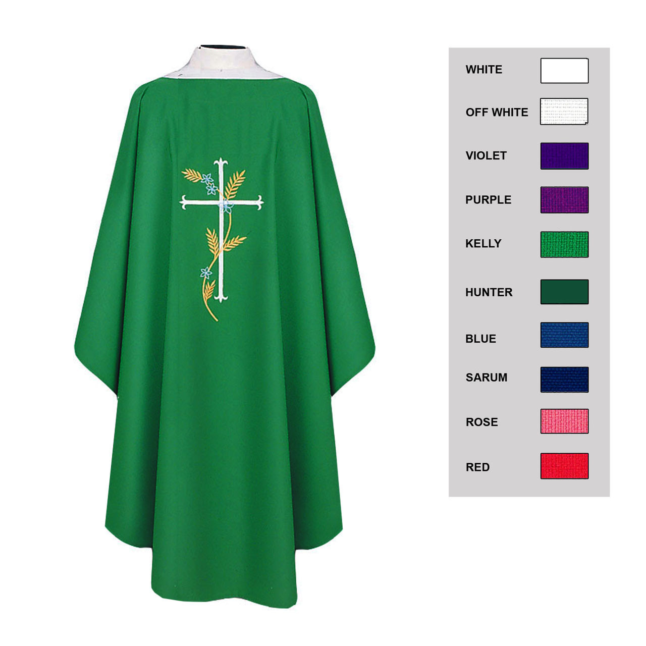 BV 871 Chasuble with Embroidery-Color Options