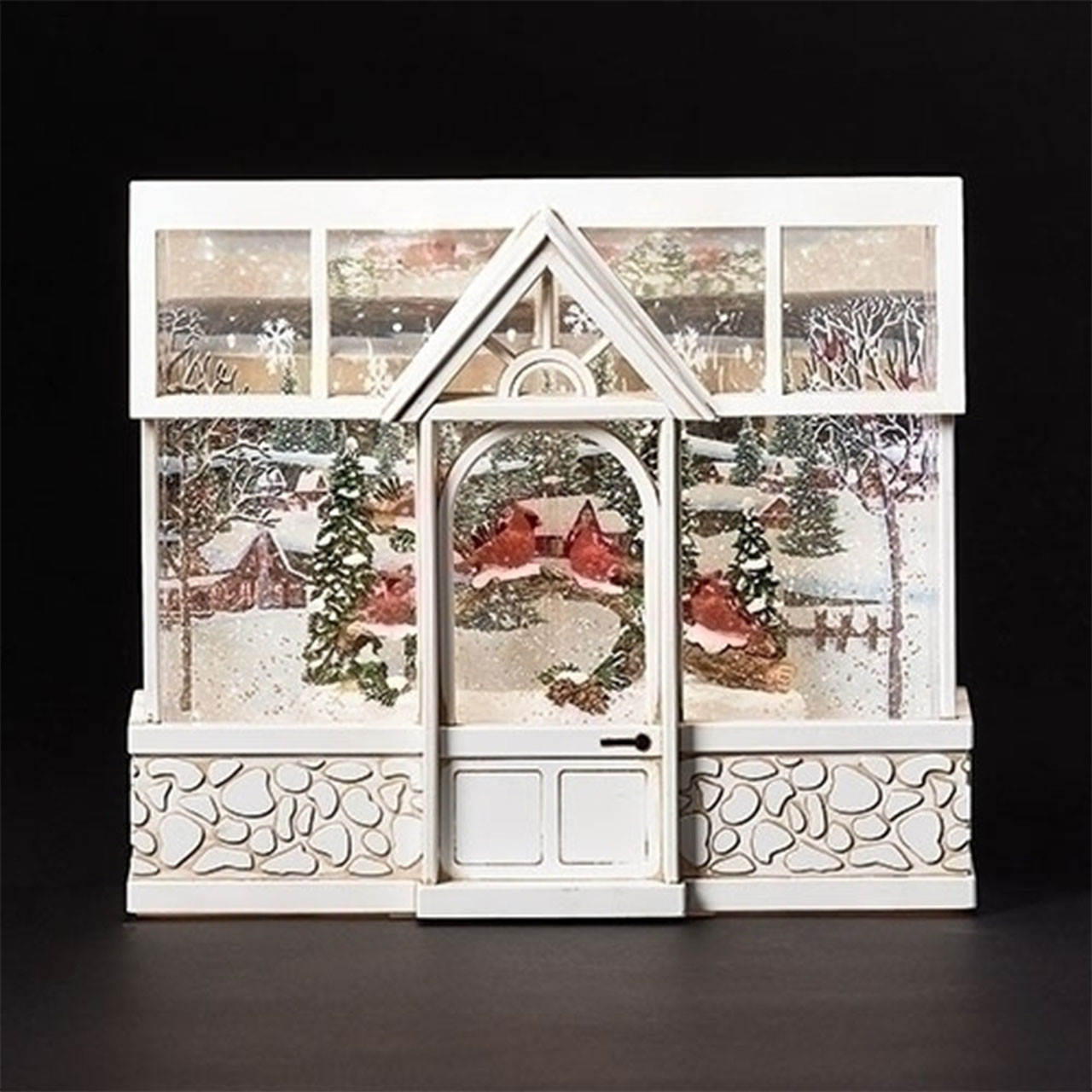 Christmas Greenhouse with Cardinals with USB cord or battery operation for LED lighting