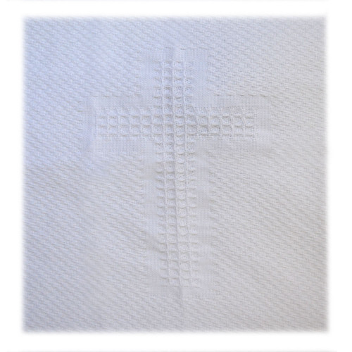 White Baby Blanket With Cross Design
