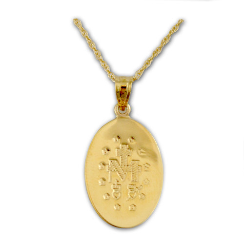 """14Kt Gold Miraculous Medal Necklace, 18"""" GF Chain"""