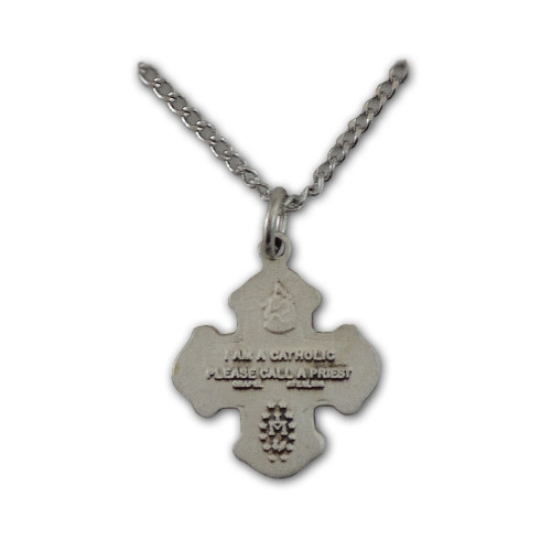 """Sterling Silver 4 Way Medal Necklace, 16"""" Chain"""