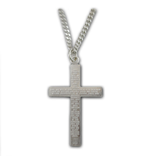 Sterling Cross Pendant 'Lord's Prayer' 24 IN Chain
