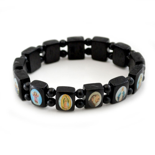 Small Wood Black Stretch Bracelet
