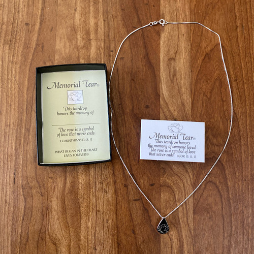Sterling Silver Teardrop Memorial Tear Necklace