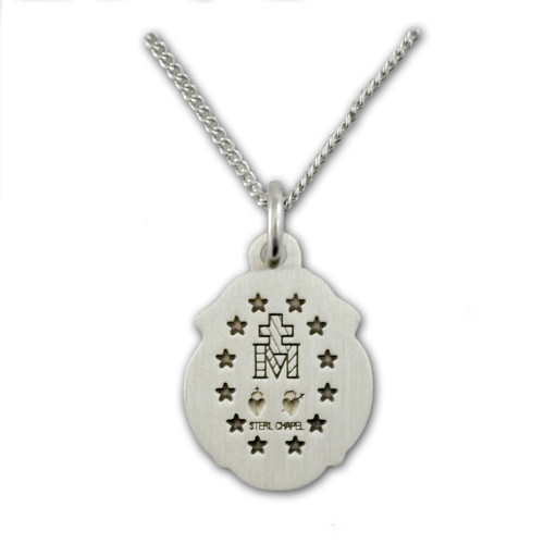 Scallop Miraculous Medal Necklace, 18 Inch Chain