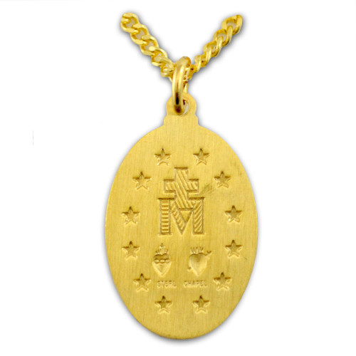 Oval Miraculous Medal Necklace, 20 Inch Chain