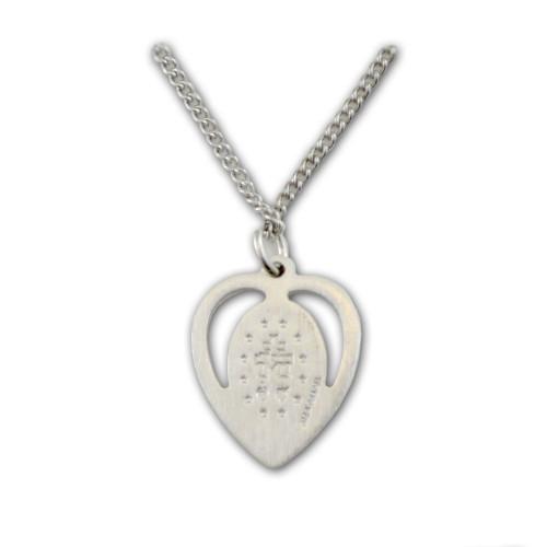 """Miraculous Heart Medal w/Blue Enamel on 18"""" Chain"""
