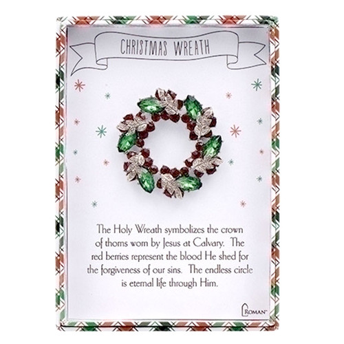 Christmas Wreath Story Jewelry Pin