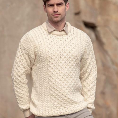Traditional Irish Crew Aran Sweater Natural