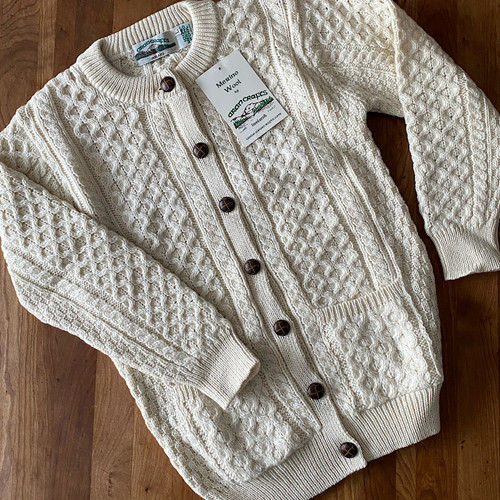 Unisex Natural Wool Irish Cardigan Sweater