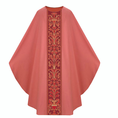 3975 Rose Chasuble from Slabbinck Dupion with Plain Collar