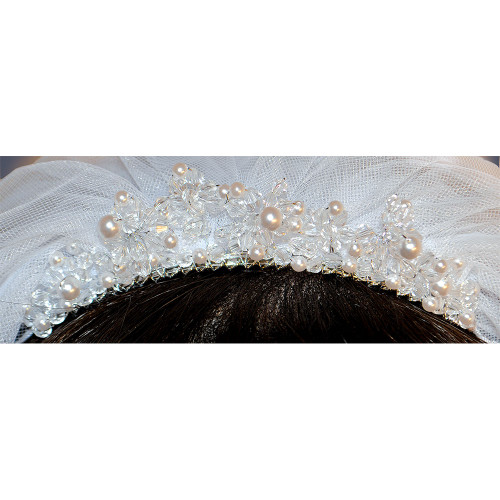 Rhinestone and Pearl Comb Tiara 'Face Framer' First Communion Veil