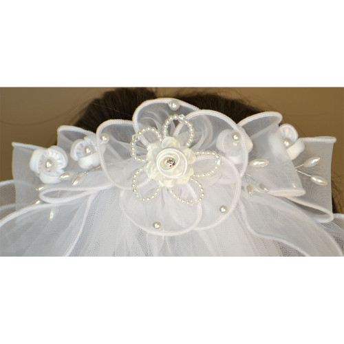 First Communion Veil with Rose Design on Barrette