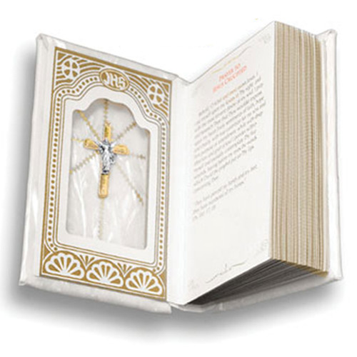 White with Gold Edges Deluxe First Communion Missal, Girl