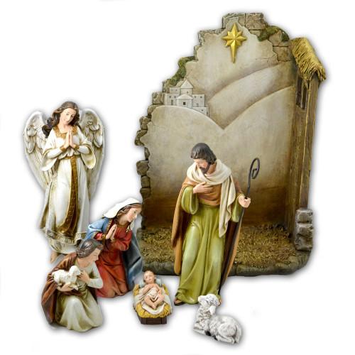 Nativity Set 7PCS 13 IN Back w/Star