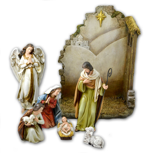 Nativity Set 7PCS 13 IN Back w/Star