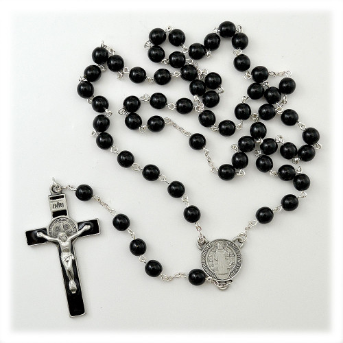 Black St. Benedict Rosary w/Deluxe Crucifix