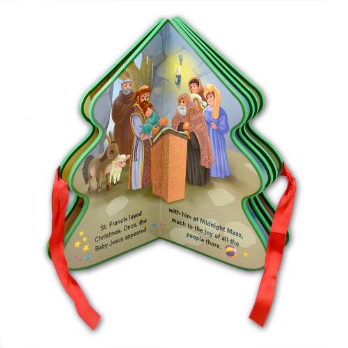 Joyous Christmas Tree-Shaped Book for Children