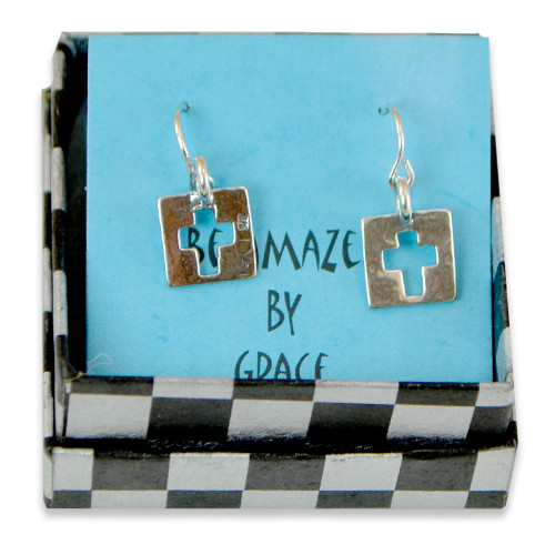 Sterling Cutout Cross Earrings