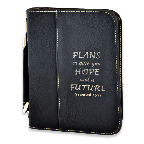 Small Leather Bible Cover with Verse & Optional Personalization
