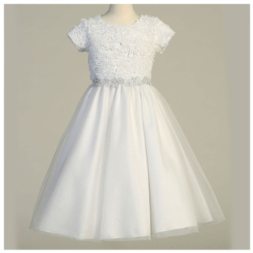 First Communion Dress Flora with Chiffon Flowers