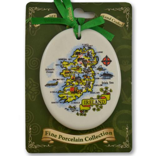 Map of Ireland Porcelain Hanging Ornament