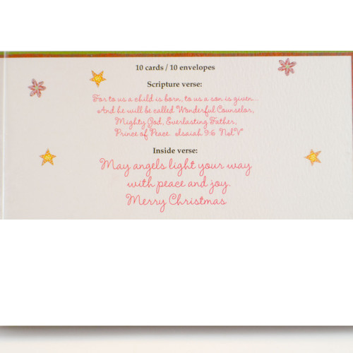 Inside of Angel Boxed Christmas Cards