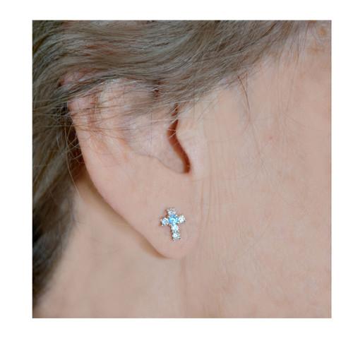 Sterling Birthstone Cross Earrings