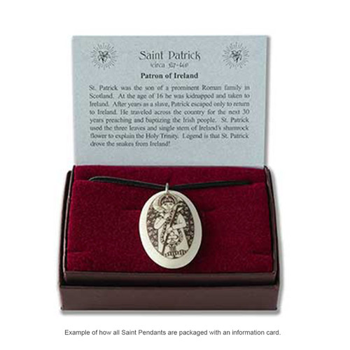 Example of Saint pendant packaging with information card