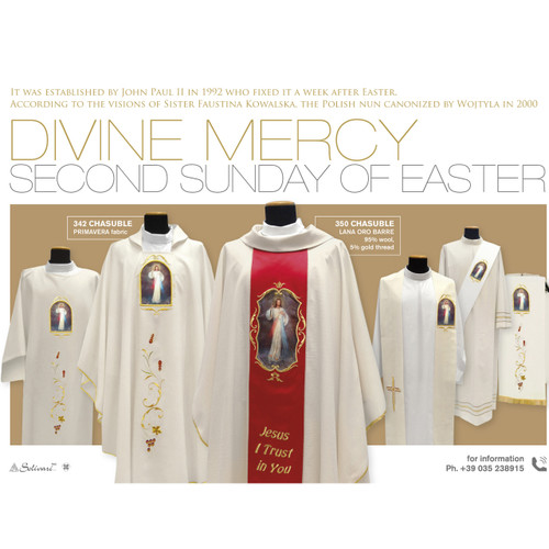 350 Divine Mercy Chasuble in Lana Oro