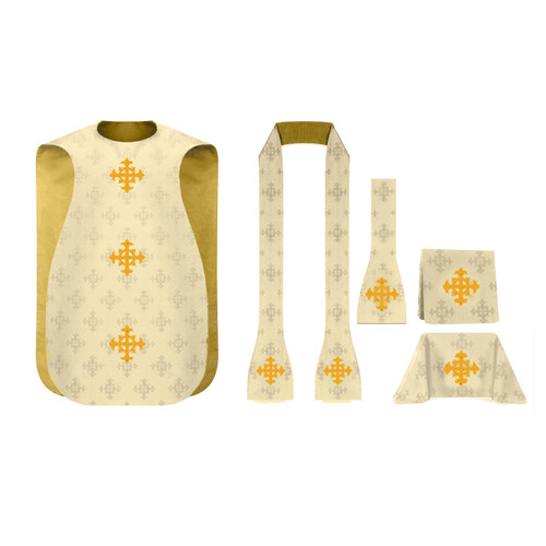 3978  5 Pc. Roman Chasuble Set  white
