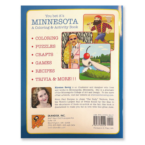 Back Cover of You Bet It's Minnesota Coloring & Activity Book