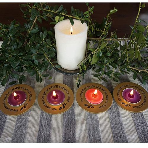 Display image of Tealight Advent Set of 4 with Advent brochure