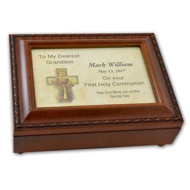 Custom Made Commemorative 1st Holy Communion Round Cut Glass Plaque Gift Idea